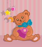 Hand drawn furry teddy bear with a heart in paws. Cute illustration Stock Photo