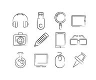 Hand drawn gadget icons Stock Photo