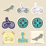 Hand drawn games and relaxation emblems set Royalty Free Stock Photos