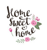 Hand drawn garden floral card with stylish lettering Home sweet home. Greeting vector design Stock Photography