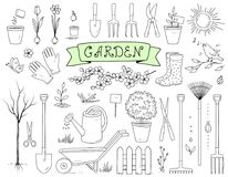 Hand drawn garden tools set Royalty Free Stock Image