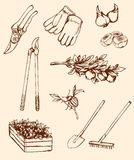 Hand drawn garden tools Royalty Free Stock Photography
