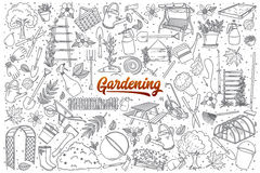 Hand drawn gardening set with lettering royalty free illustration