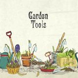 Hand drawn gardening tools album cover Royalty Free Stock Photos