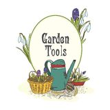 Hand drawn gardening tools emblem Royalty Free Stock Photography