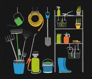 Hand drawn gardening tools and potted plants storing on shelving, standing and hanging beside it on black background Stock Photos