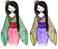 Hand drawn geisha illustration Stock Photography