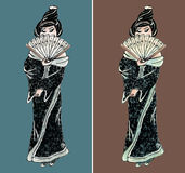 Hand drawn geisha illustration set Royalty Free Stock Image