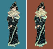 Hand drawn geisha illustration set Stock Photos