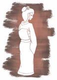 Hand drawn geisha vector illustration Stock Photography
