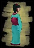 Hand drawn geisha vector illustration Royalty Free Stock Photography