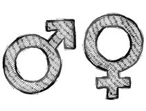 Hand drawn gender symbols with light hatching. Sketch of man and woman signs in doodle style. Qualitative vector illustration about man, woman, sex differences Royalty Free Stock Photo