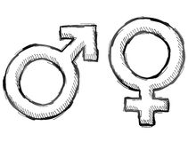 Hand drawn gender symbols. Sketch of man and woman signs in doodle style. Qualitative vector illustration about man, woman, sex differences, relationship, gender Royalty Free Stock Images