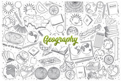 Free Hand Drawn Geography Doodle Set With Lettering Stock Images - 90555444