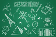 Hand drawn Geography set. Chalk on the blackboard Royalty Free Stock Photography