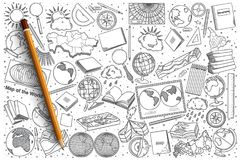 Hand drawn Geography vector doodle set Stock Photos