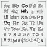 Hand Drawn Geometric English Alphabet Letters and Stock Photography