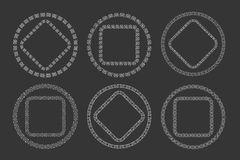 Hand drawn geometric frame set in tribal doodle Royalty Free Stock Photos