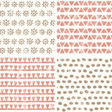 Hand drawn geometric seamless patterns in primitive style Stock Images