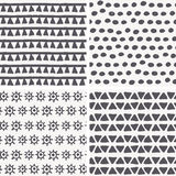Hand drawn geometric seamless patterns in primitive style Stock Photo