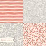 Hand drawn geometric seamless patterns set Royalty Free Stock Images