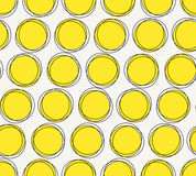 Hand drawn geometric texture with structure of repeating yellow circles. Vector seamless pattern. Modern stylish hand drawn geometric texture with structure of Stock Photo