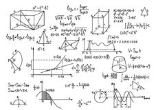 Hand drawn geometry formulas Science knowledge education. Stock Photos