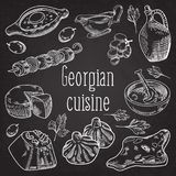 Hand Drawn Georgian Food on Chalkboard. Georgia Traditional Cuisine. Hand Drawn Georgian Food on Chalkboard. Georgia Traditional Cuisine with Dumpling and Stock Images