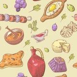 Hand Drawn Georgian Food Seamless Pattern.   Royalty Free Stock Photo