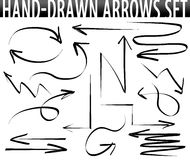 Hand-drawn geplaatste pijlen Royalty-vrije Stock Fotografie