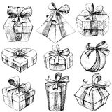 Hand Drawn Gift Box. Illustration of set of sketch for hand drawn gift box Royalty Free Stock Photography