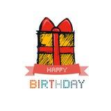 Hand Drawn Gift Box, Present Box Royalty Free Stock Images