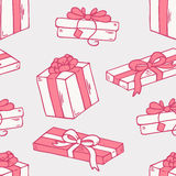Hand drawn gift box seamless pattern. Hand drawn cartoon gift box seamless pattern. Doodle holiday vector background Royalty Free Stock Photos