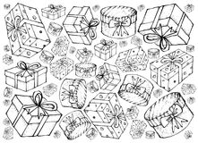 Hand Drawn of Gift Boxes with Ribbons Background. Background Illustration Hand Drawn Sketch of Collection of Lovely Gift Boxes with Ribbons and Bows, A Perfect Royalty Free Stock Photo