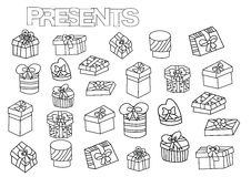 Hand drawn gift boxes set. Coloring book page template with presents. Outline doodle vector illustration Royalty Free Stock Images
