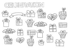 Hand drawn gift boxes set. Coloring book page template with presents. Royalty Free Stock Images