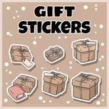 Hand drawn gift boxes stickers set. Cartoon doodles royalty free illustration