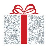 Hand drawn gift shape doodle art. Editable stroke. Illustration of hand drawn lines gift shape doodle art. Editable stroke stock illustration