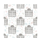 Hand drawn gifts with bows in cartoon style. Doodle seamless pattern with different presents Royalty Free Stock Photography