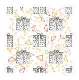 Hand drawn gifts with bows in cartoon style. Doodle seamless pattern with different presents Stock Images