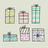 Hand drawn gifts Royalty Free Stock Photography