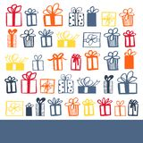 Hand drawn gifts. Vector background. Hand drawn color gifts on white background. Vector background vector illustration