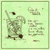 Hand drawn Gin and Tonic cocktail. Illustration with hand drawn sketch Gin and Tonic cocktail. Including recipe and ingredients on the grunge vintage background Royalty Free Stock Photo