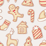 Hand drawn gingerbread cookies seamless pattern Royalty Free Stock Images