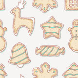 Hand drawn gingerbread cookies seamless pattern Stock Image