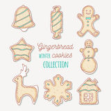 Hand drawn gingerbread cookies. Winter sweets Royalty Free Stock Images