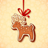 Hand-drawn gingerbread deer with red ribbon Royalty Free Stock Images