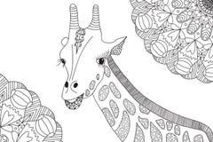 Hand-drawn giraffe illustration for coloring book Stock Photo