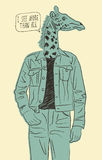 Hand drawn giraffe-man. Vector illustration Royalty Free Stock Image