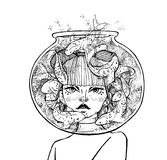 Hand drawn girl with aquarium on head with fish. Tattoo theme. Vector sketch illustration. Tattoo theme. Vector sketch ink illustration. Hand drawn Royalty Free Stock Images